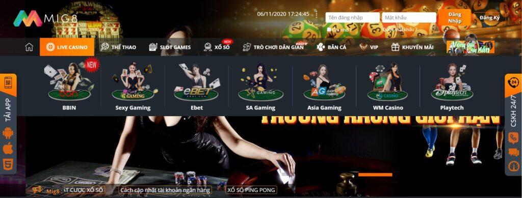Live Casino tại MIG8
